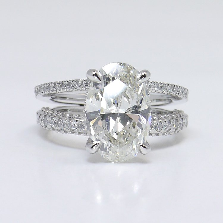 Custom Split Shank 3.5 Carat Oval Diamond Engagement Ring