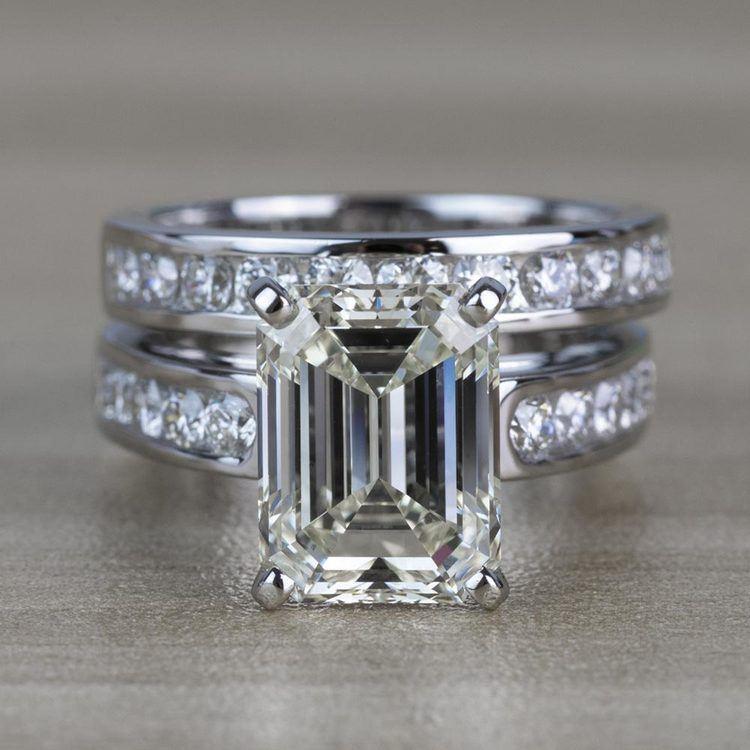5.01 Carat Emerald Diamond Cathedral Bridal Set in Platinum