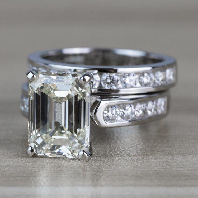 5.01 Carat Emerald Diamond Cathedral Bridal Set in Platinum angle 2