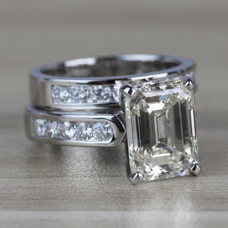 5.01 Carat Emerald Diamond Cathedral Bridal Set in Platinum angle 3