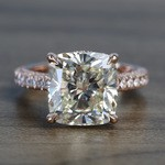 5.27 Carat Custom Cushion Diamond Engagement Ring in Rose Gold - small