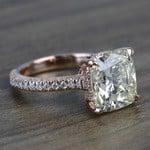 5.27 Carat Custom Cushion Diamond Engagement Ring in Rose Gold - small angle 3