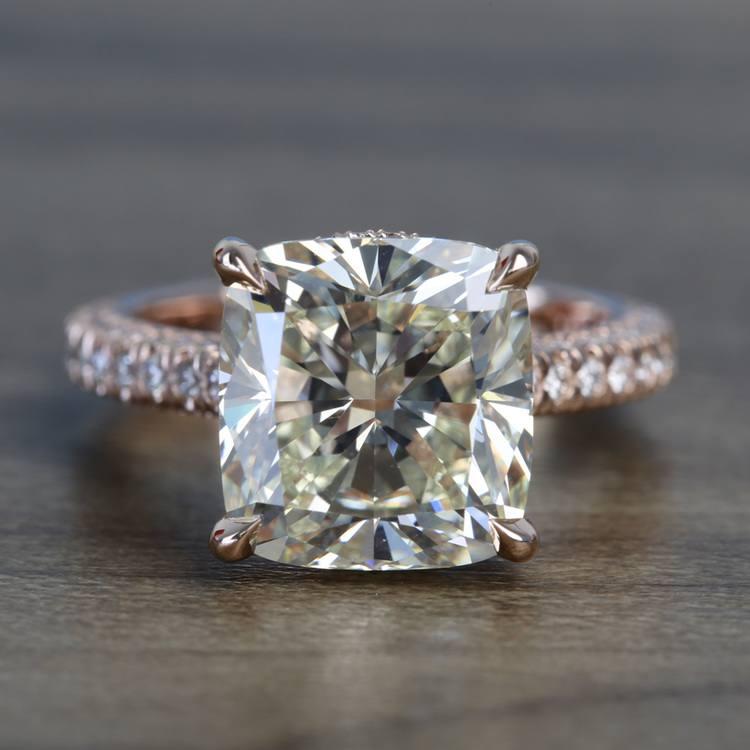 5.27 Carat Custom Cushion Diamond Engagement Ring in Rose Gold