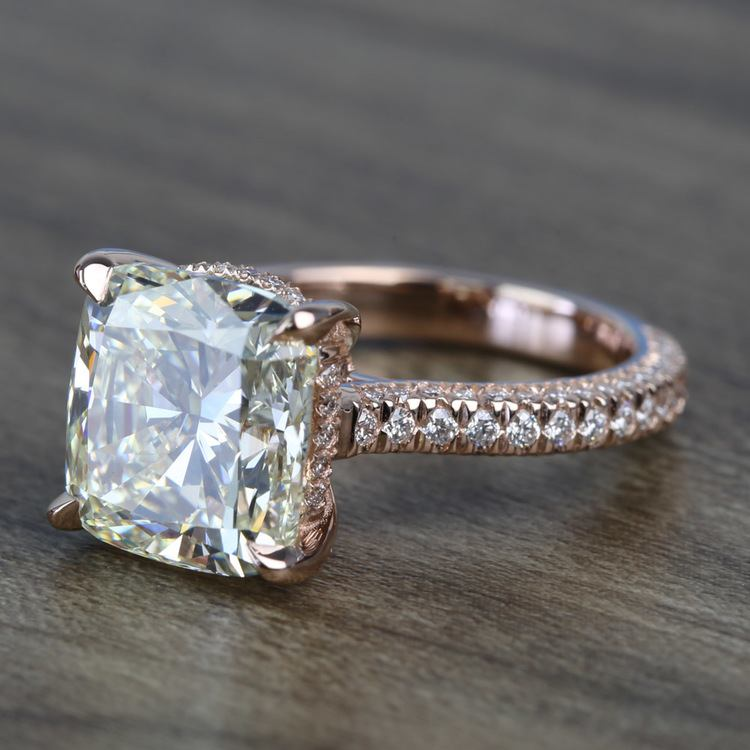 5.27 Carat Custom Cushion Diamond Engagement Ring in Rose Gold angle 2