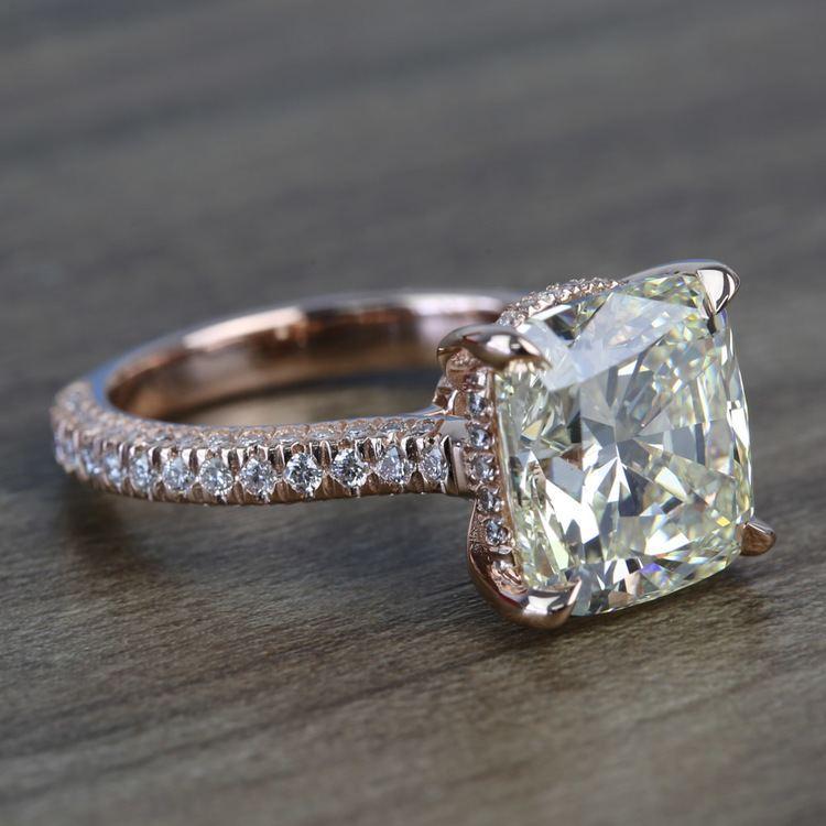 5.27 Carat Custom Cushion Diamond Engagement Ring in Rose Gold angle 3