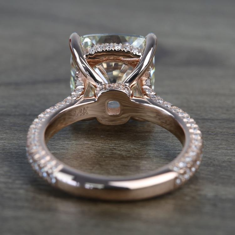5.27 Carat Custom Cushion Diamond Engagement Ring in Rose Gold angle 4