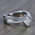5.5mm Bezel Diamond Bridge Princess Moissanite Ring - small angle 3