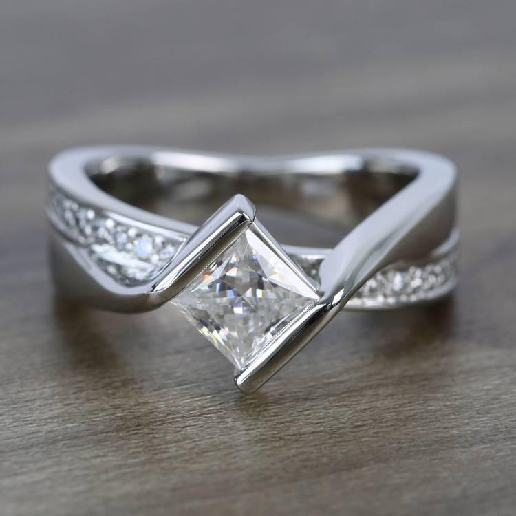 5.5mm Bezel Diamond Bridge Princess Moissanite Ring