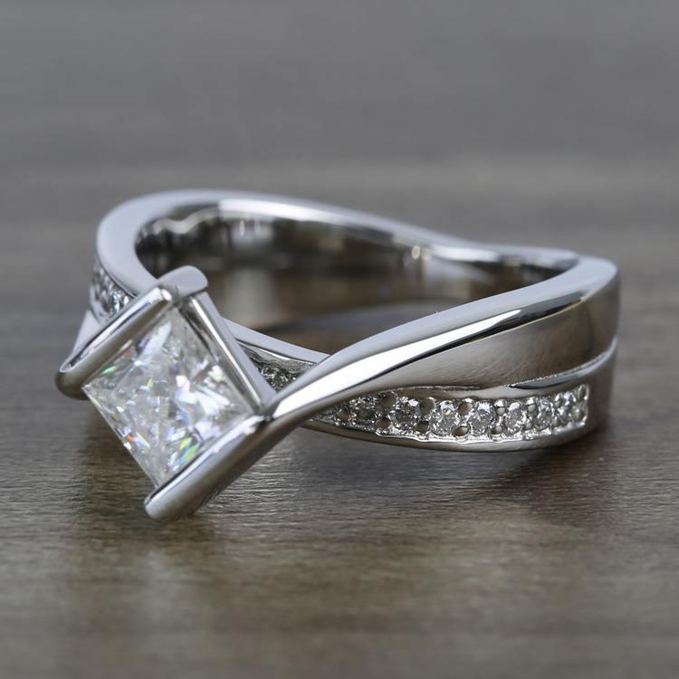 5.5mm Bezel Diamond Bridge Princess Moissanite Ring angle 2