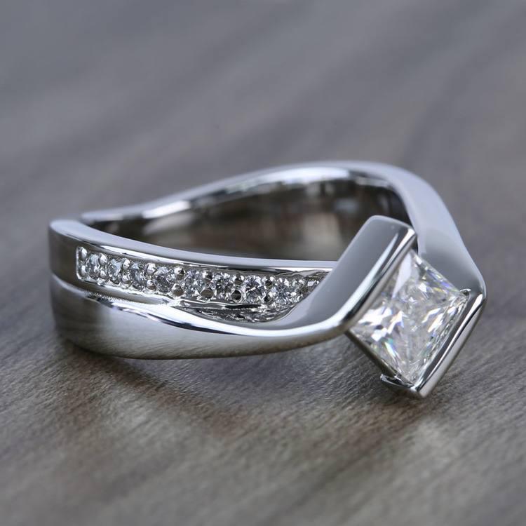 5.5mm Bezel Diamond Bridge Princess Moissanite Ring angle 3