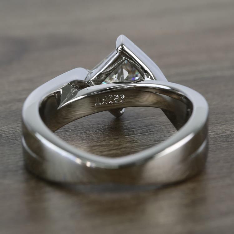 5.5mm Bezel Diamond Bridge Princess Moissanite Ring angle 4