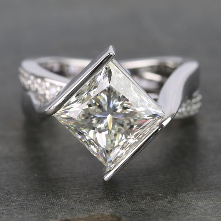 5 Carat Princess Bezel Diamond Bridge Engagement Ring