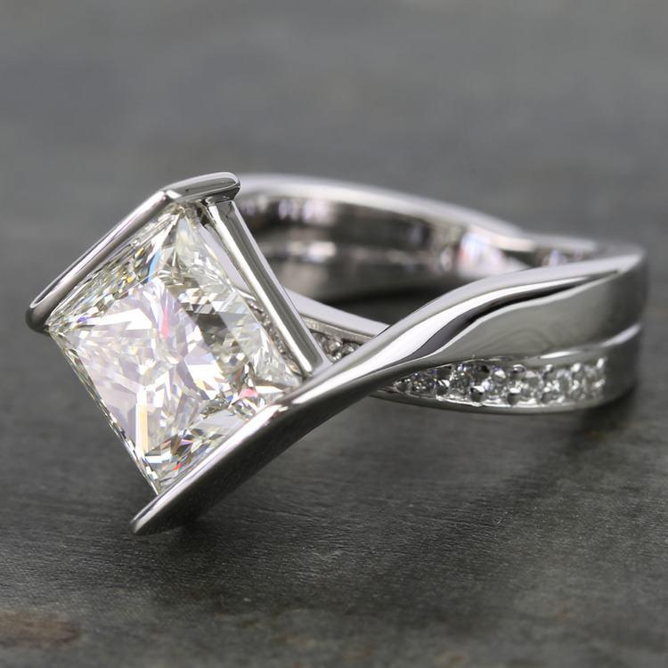 5 Carat Princess Bezel Diamond Bridge Engagement Ring angle 2