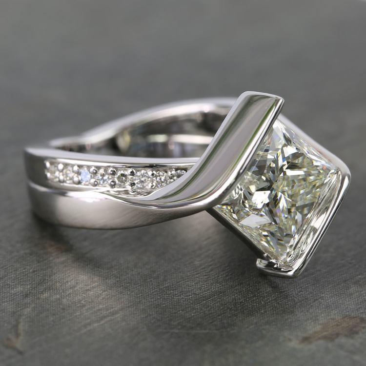5 Carat Princess Bezel Diamond Bridge Engagement Ring angle 3