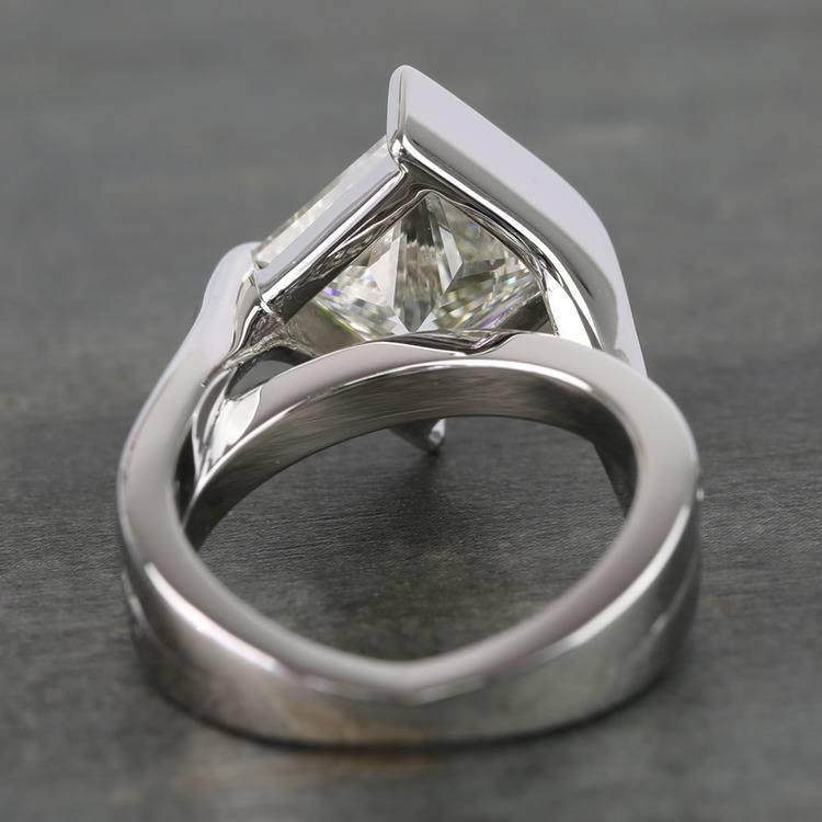 5 Carat Princess Bezel Diamond Bridge Engagement Ring angle 4