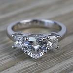 6.5mm Heart Moissanite & Princess Diamond Engagement Ring - small