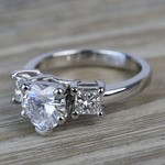 6.5mm Heart Moissanite & Princess Diamond Engagement Ring - small angle 2