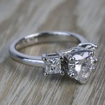 6.5mm Heart Moissanite & Princess Diamond Engagement Ring - small angle 3