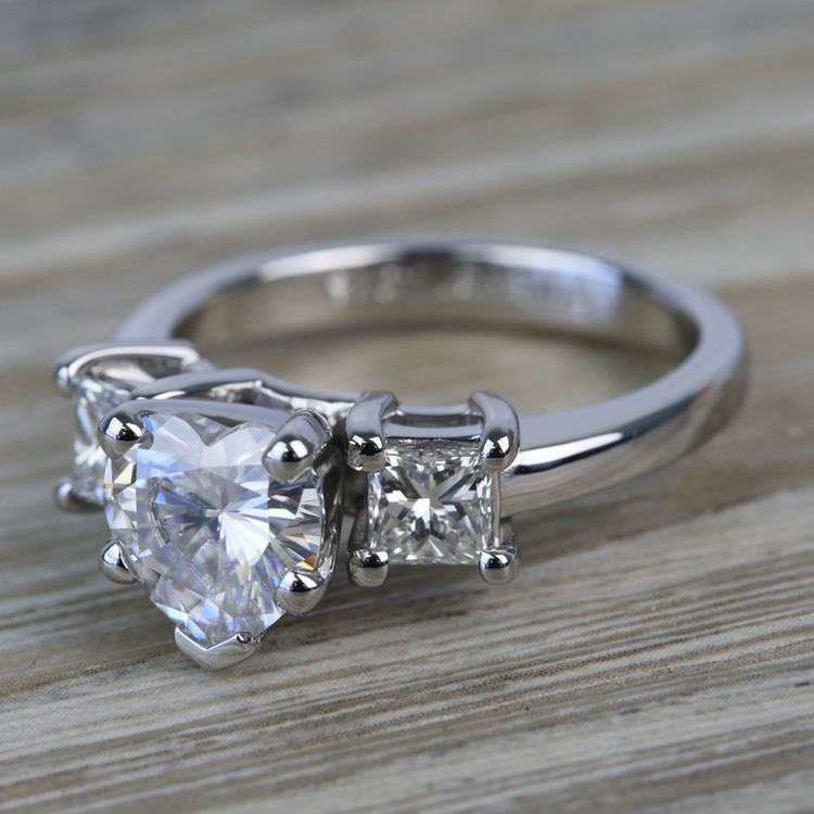 6.5mm Heart Moissanite & Princess Diamond Engagement Ring angle 2