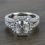 7.3mm Custom Colorless Asscher Halo Moissanite Engagement Ring - small