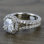 7.3mm Custom Colorless Asscher Halo Moissanite Engagement Ring - small angle 2