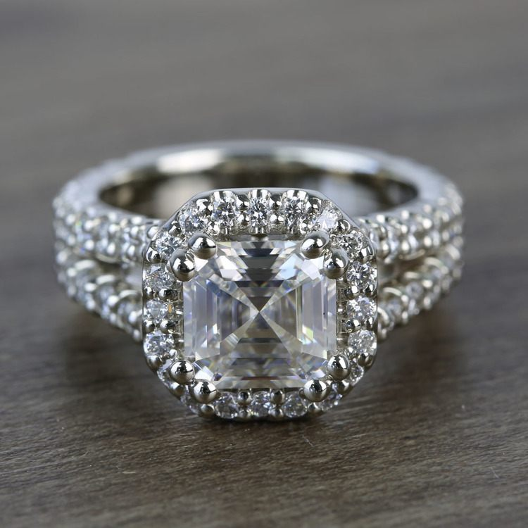 7.3mm Custom Colorless Asscher Halo Moissanite Engagement Ring