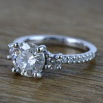 Three-Stone Round Moissanite Engagement Ring (2 Carat) - small angle 2