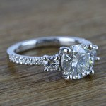 Three-Stone Round Moissanite Engagement Ring (2 Carat) - small angle 3