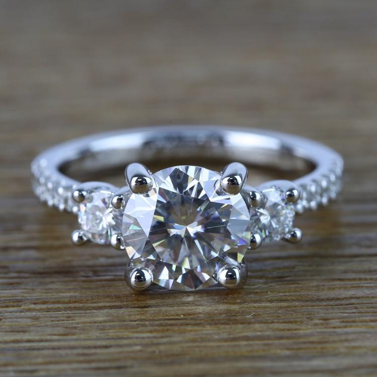 Three-Stone Round Moissanite Engagement Ring (2 Carat)