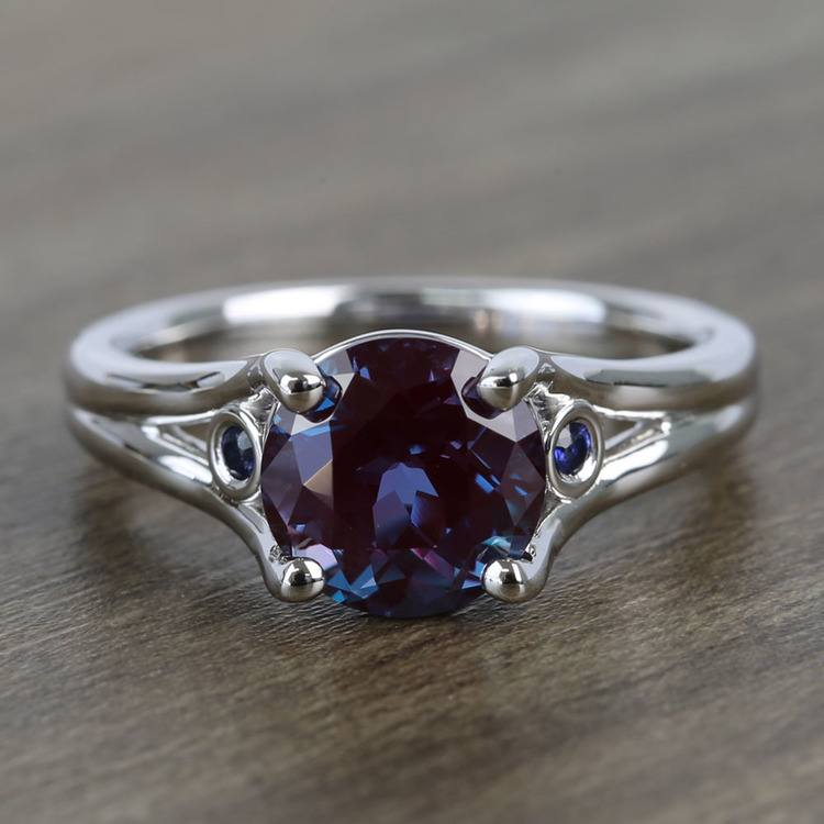 8.2 mm Chatham® Alexandrite & Sapphire Gemstone Engagement Ring