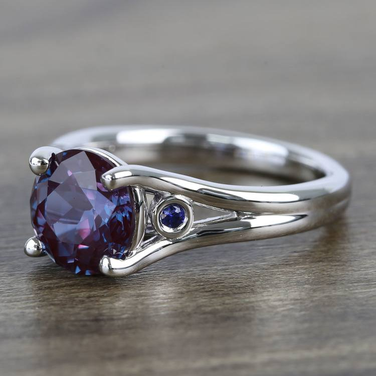 8.2 mm Chatham® Alexandrite & Sapphire Gemstone Engagement Ring angle 2