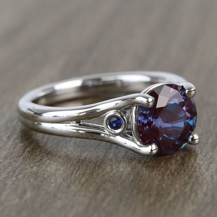 8.2 mm Chatham® Alexandrite & Sapphire Gemstone Engagement Ring angle 3