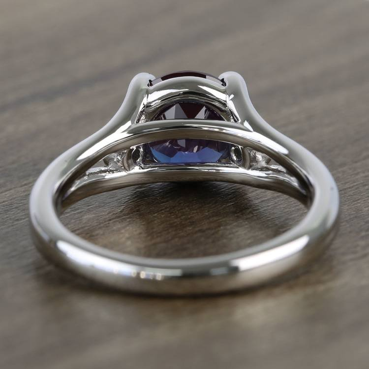 8.2 mm Chatham® Alexandrite & Sapphire Gemstone Engagement Ring angle 4