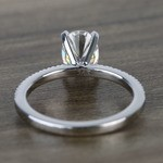 8x6mm Oval Forever One Moissanite Petite Pave Diamond Engagement Ring - small angle 4