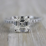 Absolutely Stunning Asscher Cut Diamond Platinum Engagement Ring - small