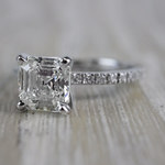 Absolutely Stunning Asscher Cut Diamond Platinum Engagement Ring - small angle 2