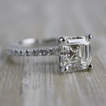 Absolutely Stunning Asscher Cut Diamond Platinum Engagement Ring - small angle 3