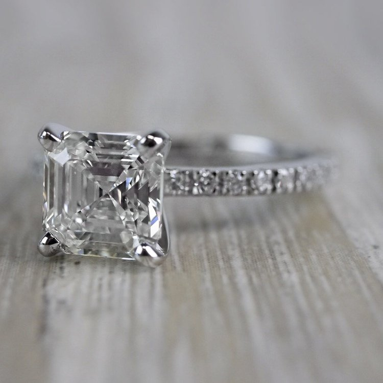 Absolutely Stunning Asscher Cut Diamond Platinum Engagement Ring angle 2