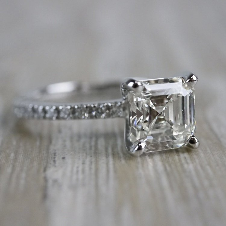 Absolutely Stunning Asscher Cut Diamond Platinum Engagement Ring angle 3