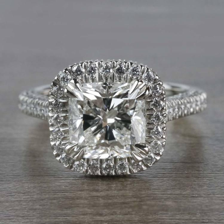 Sparkling 2 Carat Cushion Cut Diamond Ring With Diamond Halo