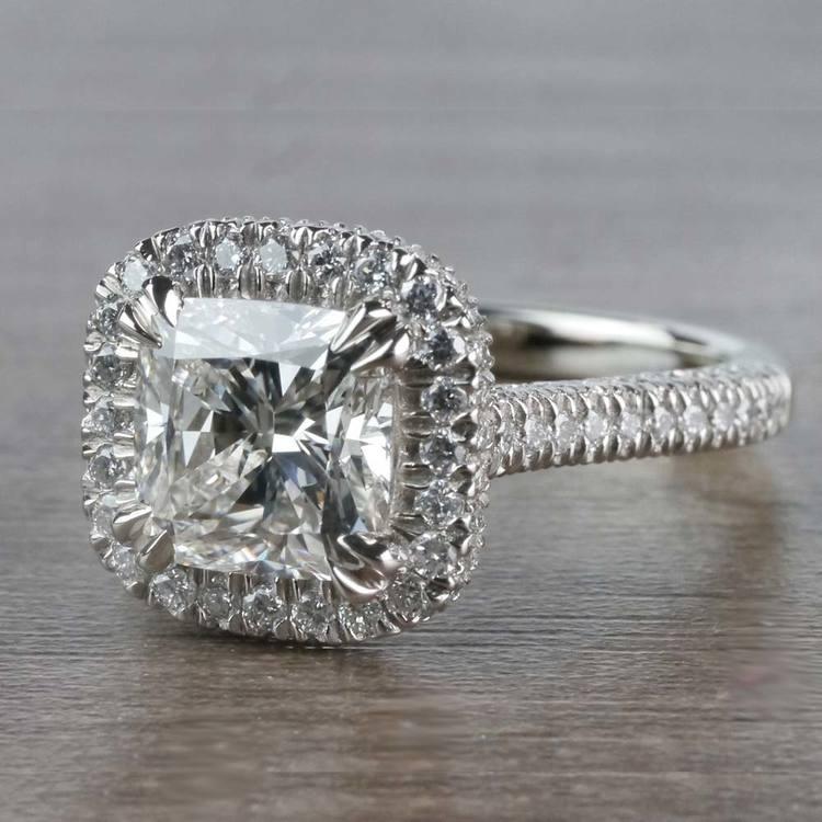 Sparkling 2 Carat Cushion Cut Diamond Ring With Diamond Halo angle 2