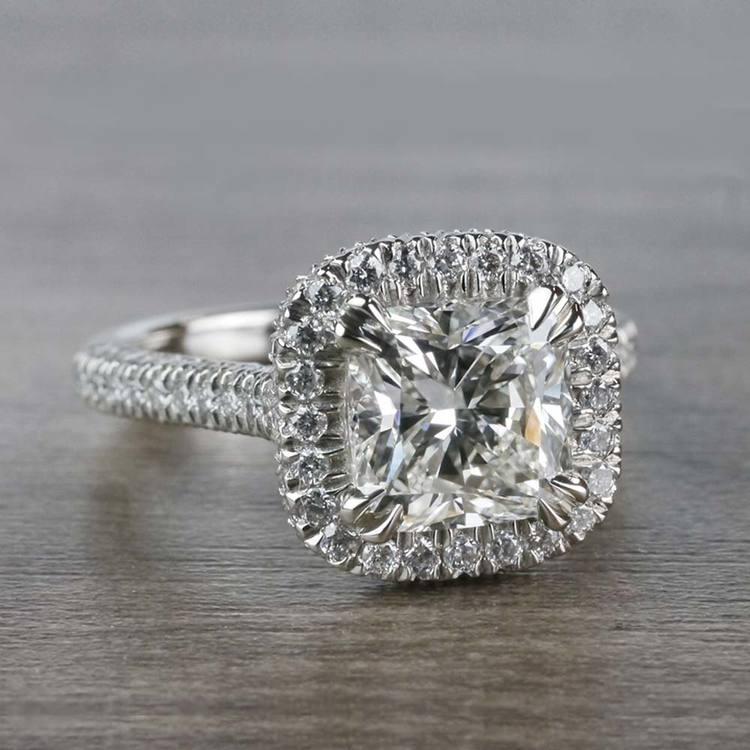 Sparkling 2 Carat Cushion Cut Diamond Ring With Diamond Halo angle 3
