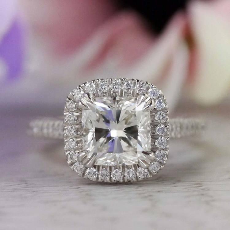 Sparkling 2 Carat Cushion Cut Diamond Ring With Diamond Halo angle 5