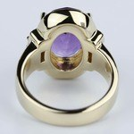 Amethyst Gemstone Statement Diamond Halo Ring in Yellow Gold - small angle 4