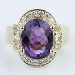 Amethyst Gemstone Statement Diamond Halo Ring in Yellow Gold - small