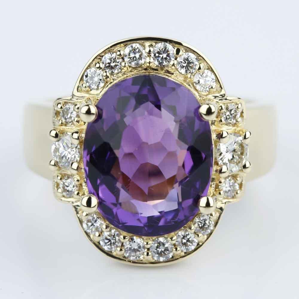 Amethyst Gemstone Statement Diamond Halo Ring In Yellow Gold
