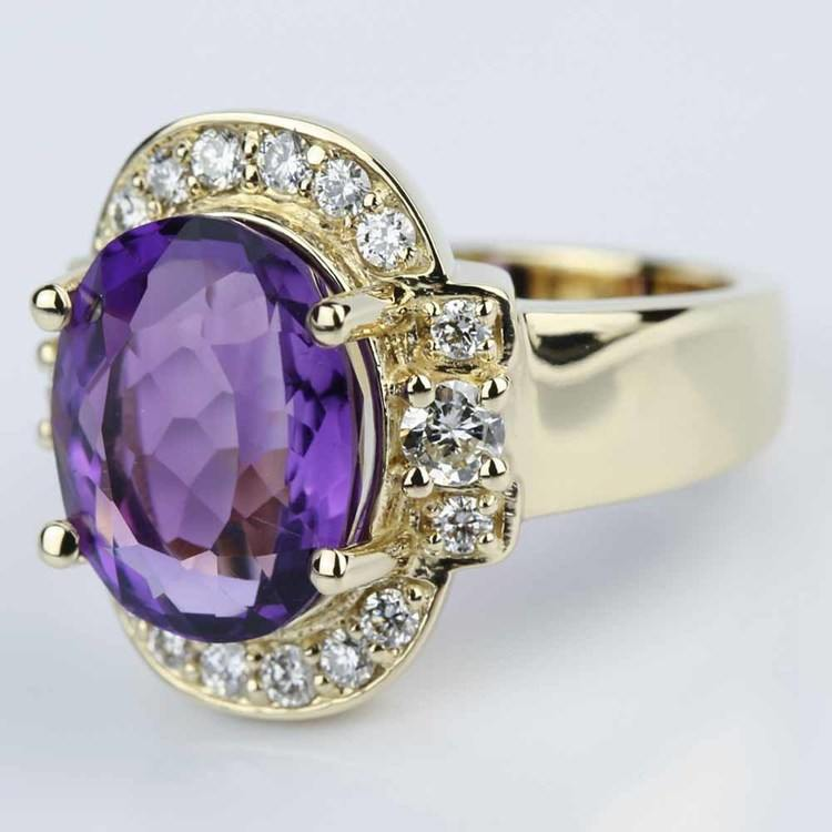 Amethyst Gemstone Statement Diamond Halo Ring in Yellow Gold angle 2