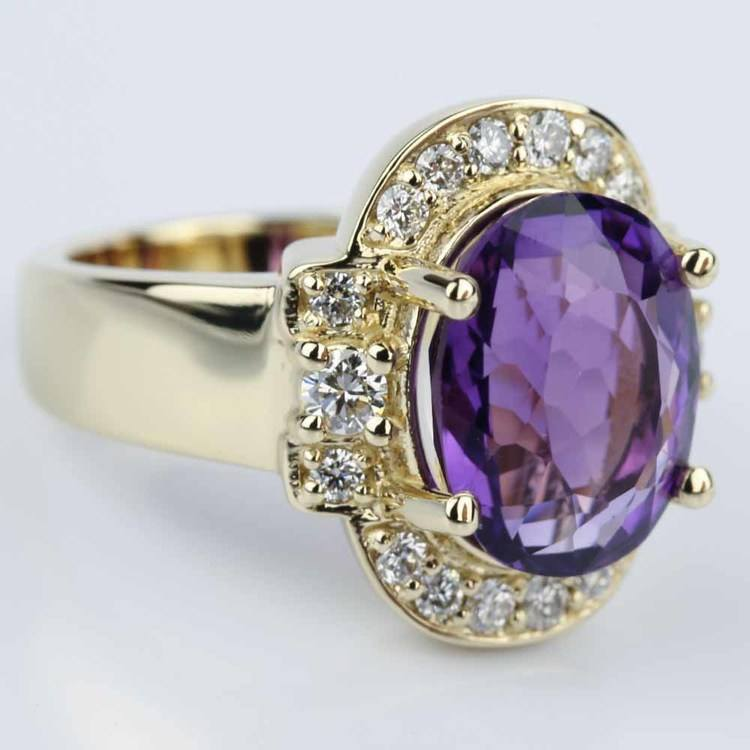 Amethyst Gemstone Statement Diamond Halo Ring in Yellow Gold angle 3