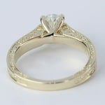Antique Hand-Engraved Engagement Ring with Oval Diamond - small angle 4