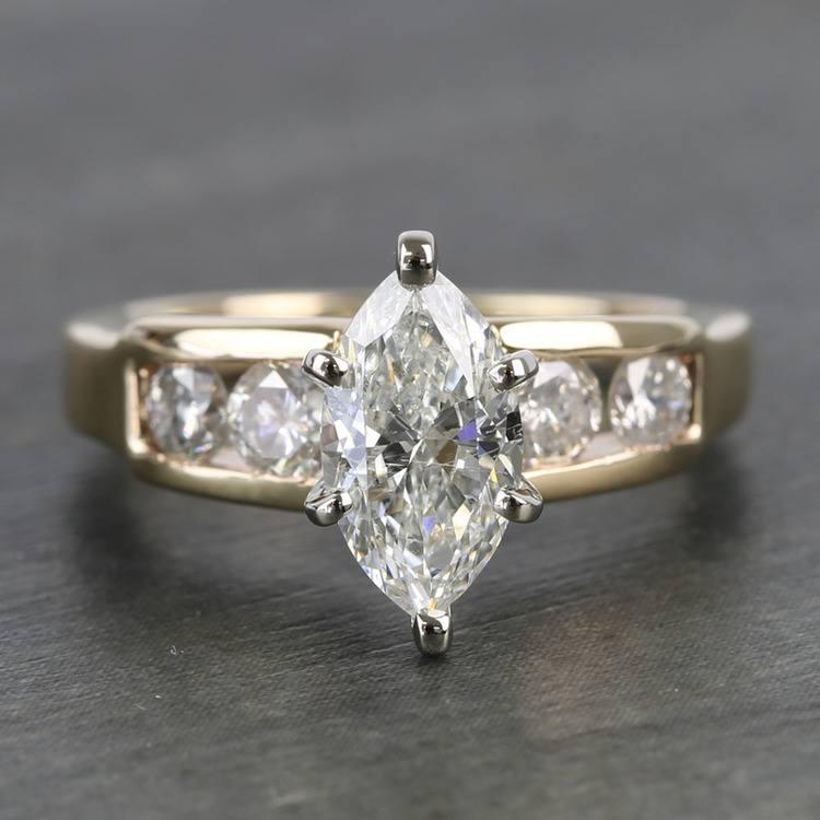 Antique 1 Carat Custom Marquise Diamond Engagement Ring